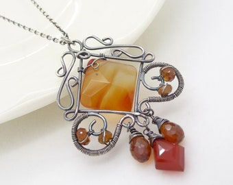 Carnelian necklace, sterling silver, dark burnt orange gemstone necklace, wire wrapped jewelry, handmade gothic carnelian jewelry