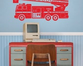 fire truck vinyl wall decal sticker art, boys room, FDNY, fire department wall decal, FREE SHIPPING