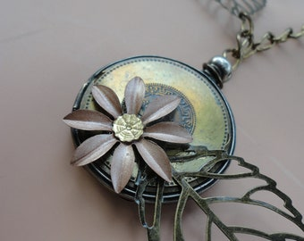 multi-metaled reversible pocket watch case necklace - 353