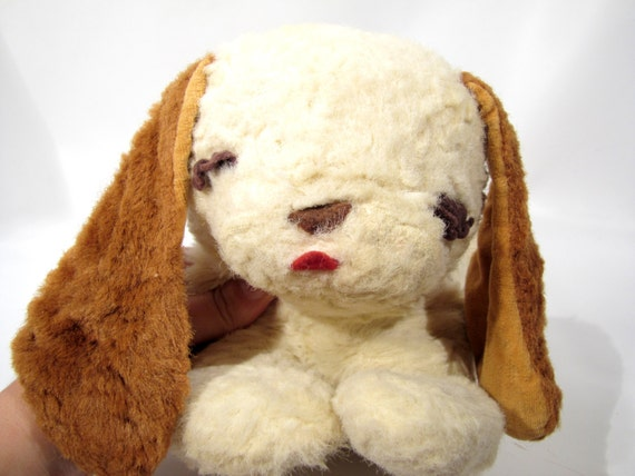 Vintage Knickerbocker 1950s SLEEPY HEAD Puppy Dog Blond Mohair Jingle Bell ears Plush toy stuffed animal