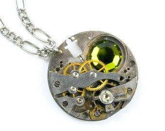 Antique Watch Movement n Olivine Crystal Steampunk Necklace