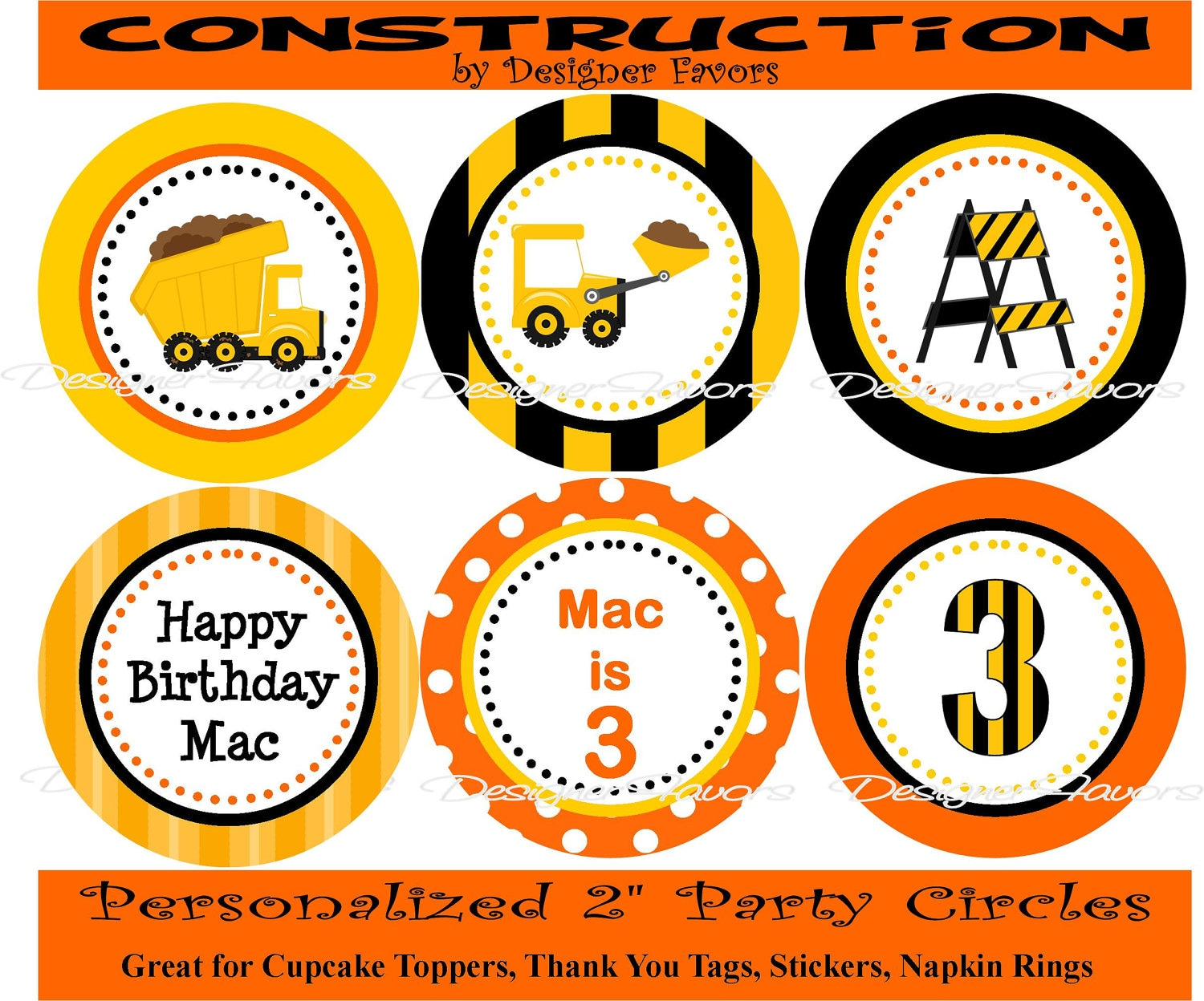 This is a picture of Hilaire Construction Party Printables