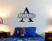 Childrens Name Wall Decal - Initial with Name Wall Decal for Girl or Boy - Baby Nursery and Bedroom Wall Decor INCHES Fn0179