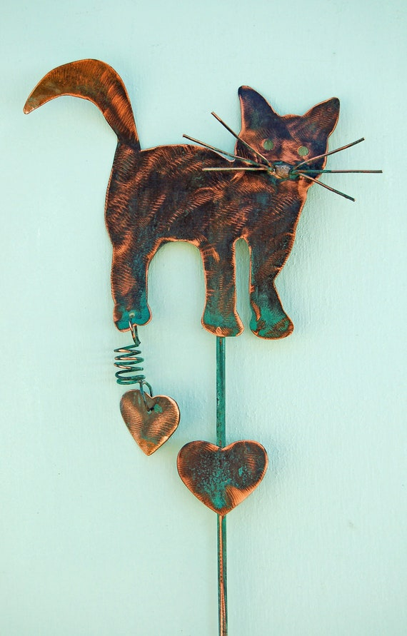 cat garden plant pot stake handmade outdoor lawn ornament