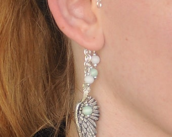 Angelic Ear Cuff with White and Green Beads