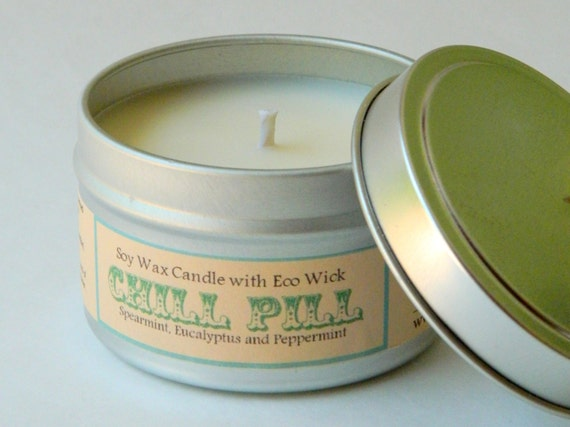 CHILL PILL for Mom Mint Spa Candle / Essential Oil Candle / soy candle tin