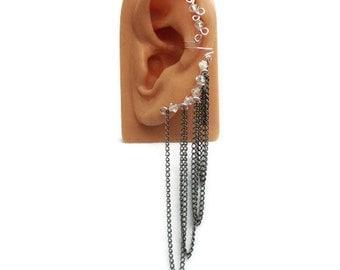 Ear Cuff Swarovski Crystal Gunmetal Chain