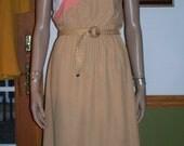 Womens Casual Dress~ Tan Orange & White  Color Block Urban Retro Mod Women's Vintage Dress DRESS