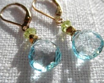 Swiss blue topaz earrings - peridot earrings - topaz earrings - blue and green earrings - gold earrings - L A U R E N 194