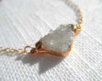 Clear quartz druzy bracelet - white druzy - gold bracelet - white bracelet - D R U Z Y 044