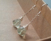 faceted prasiolite trillion earrings with chain // february birthstone // green amethyst // bridal wedding
