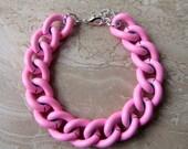 Chunky Chain Bracelet - Colorful Bubblegum Pink Curb Chain Bracelet
