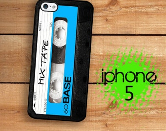 iPhone 5S SE Cassette Tape iPhone 5S Case |  Mix Tape Classic 80's Cassette Tape Black and Blue Plastic or Rubber Case for iPhone 5 5S