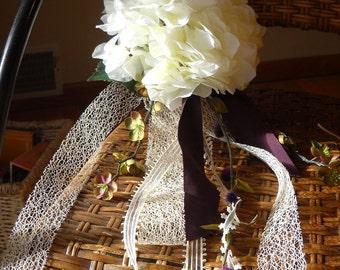 Ivory Hydrangea and Ribbon Wedding Pew Flower