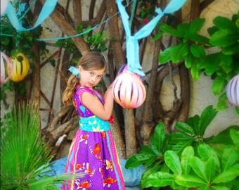 SALE   Girls Sleeveless Kimono Dress, Purple Koi, many childrens sizes, by SunLoveShirts