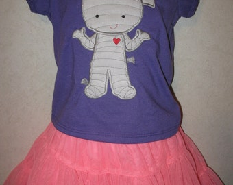 Halloween Cute Girl Mummy Glow In the dark Shirt READY TO SHIP 18 months