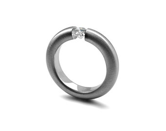 White Sapphire Tension Set Ring Brushed Stainless Steel