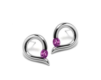 Teardrop Shaped Pink Sapphire Stud Earrings Tension Set in Steel Stainless