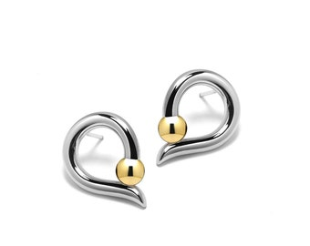 Teardrop Shaped Gold and Stainless Steel Stud Earrings Tension Set Two Tone