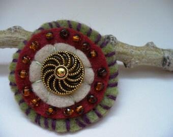 Rustic Christmas Felt Brooch Bohemian Handmade Gift