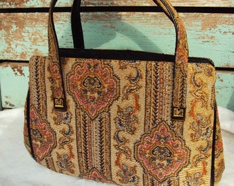 Vintage Tapestry Purse Handbag  Brass Buckle hardware