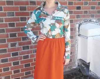 CLEARANCE Vintage 1970s Bright and Bold Secretary Patterned Blouse and Tangerine Skirt