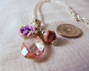 Necklace, Pink, Rose, Sterling Silver   3024