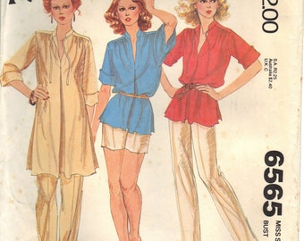 Vintage McCalls Carefree Pattern 6565 Half Size Pullover Tunic or Top Pants Shorts Size 18 1/2 Uncut
