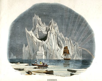Antique Nature Print - Arctic Iceberg Art - Victorian Nautical Nature Illustration - Winter Scene Art Print