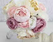 Silk Bride Bouquet Peony Peonies Vintage Inspired Rustic Wedding