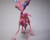 Pink Baby Giraffe, Whimsical Animal Art, Wire Sculpture, Wire Form, Giraffe Figurine, Giraffe Ornament, Home Decor Animal, Animal Colletable