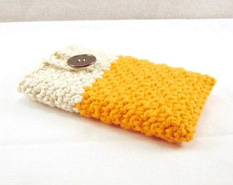 Orange Phone Case, Cotton Phone Case, Creme Phone Cover, Crochet Case, cell phone case, cell phone cover, ipod case, Buttoned case