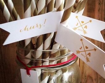 Arrow Monogram Custom Wedding Paper Straws Gold Personalized Flags
