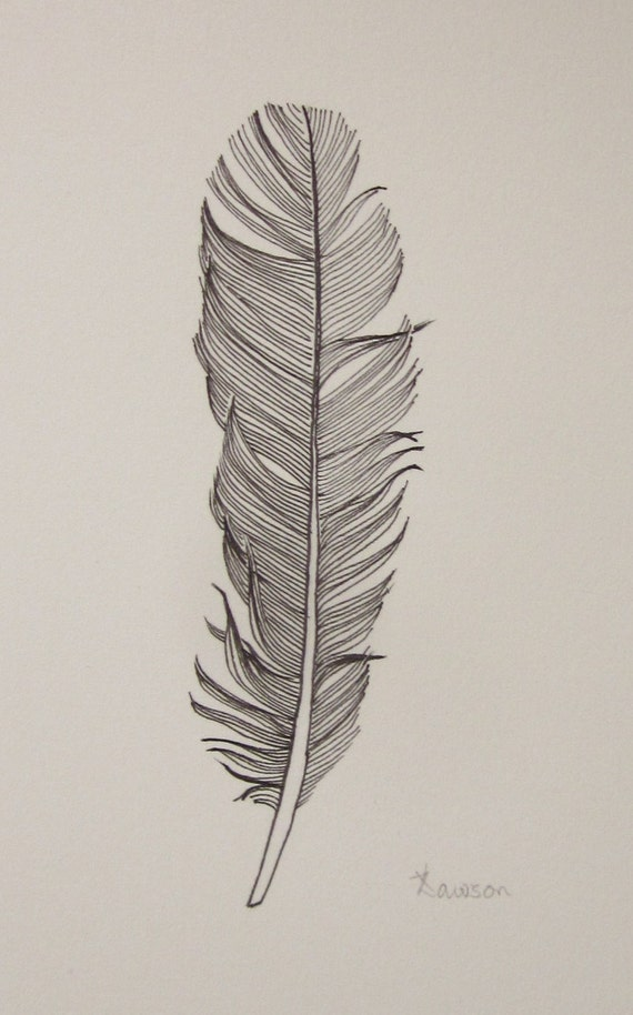 Black feather 3 original ink drawing for Easy detailed drawings