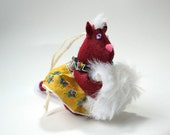 Felt Fox Ornament or Door Hanger in Maroon, Mustard, and Blue Wearing a Vintage Handkerchief Dress by Pine Hill Forest