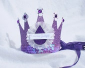Sofia the First Party Crown Birthday Hat in lavender, white and amythyst purple amulet with pearl glitter