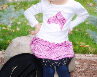 Pink Bandana Skirt Set Custom Size 12m 2 3 4 5 6 Horse Head, Cowboy Boot, Western Star Long Sleeve Shirt Cowgirl Birthday Outfit Bandanna