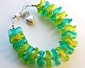 Fashion bracelet island style special lampwork glass lampwork bracelet with sterling silver heart charm light grass green and teal