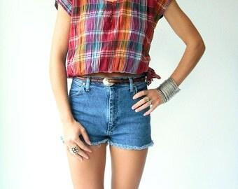 SALE...Vintage 80's Crop Top Rainbow Plaid Blouse / Crinkle Gauze Shirt  / Side Tie
