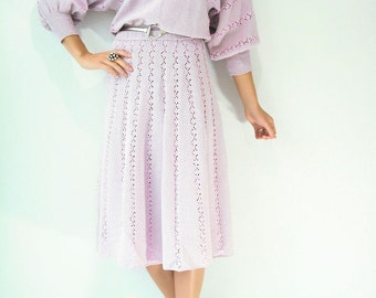 80's Pale Lavender Macrame Sweater Dress Two Piece Set / 2 Piece Skirt and Dolman sweater Set / Stripe Crochet Accent Deadstock Vintage