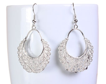 Silver hollow filigree dangle earrings (652) - Flat rate shipping