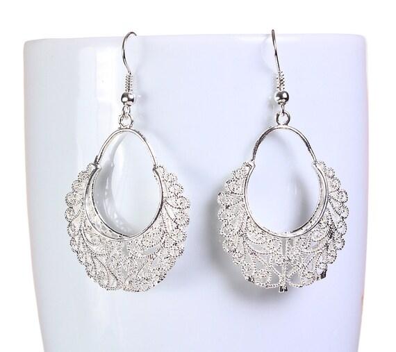 Silver hollow filigree dangle earrings (652) - Flat rate shipping