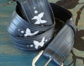 Butterflies alight - Reflective recycled inner tube belt