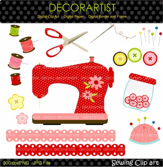 On sale sewing clip art sewing machine by decorartistclipart for Arts and crafts sewing machine