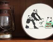 """Celibate Pandas Hand Embroidery - 8"""" Hoop"""