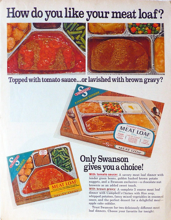 1968 ad Swanson TV Dinner Meat Loaf vintage frozen convenience