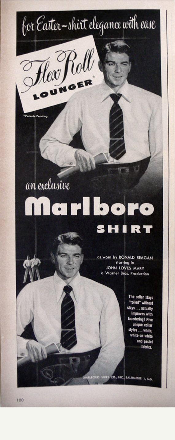 Ronald Reagan for Marlboro Shirt 1949 vintage ad menswear - Free U.S. shipping