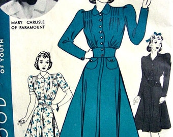 UNCUT 1940s Vintage HOLLYWOOD Movie Star Sewing Pattern 1925 -  One Piece Dress -  size 14 // Mary Carlisle