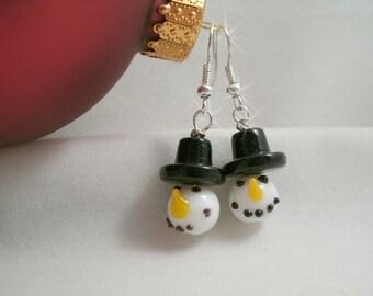 Snowman  Lampwork Glass Earrings