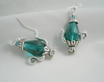 Coffee or Tea Pot Teal faceted Quartz Earrings on Sterling Silver Wires